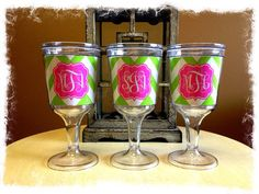 Personalized Wine Tumbler, Monogrammed Wine Tumbler on Etsy, $25.00, Bridesmaid Gift, Wedding Gift, Preppy Gift, wine, wine glass, chevron www.SasssySouthernGals.etsy.com