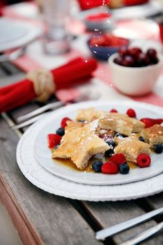 4th of July Star Shaped Pancakes with Berries