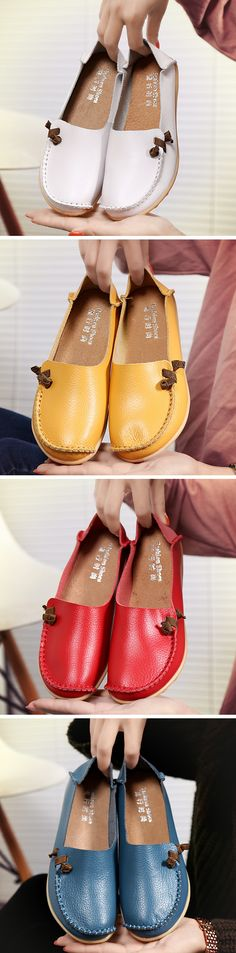 US$14.78  Big Size Soft Multi-Way Wearing Pure Color Flat Loafers