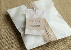 Burlap and lace personalized wedding favor gift tag! Love this for adding a sweet touch to favors or gifts.