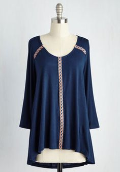 Moved By Moonlight Top. Sauntering through soft, celestial beams in this deep blue top, you feel energized by the radiance of the universe around you. #blue #modcloth