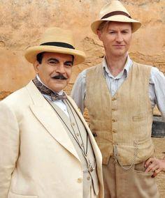 "David Suchet and Mark Gatiss in Agatha Christie's Poirot ""Appointment with Death"" Agatha Christie's Poirot, Hercule Poirot, Steve Pemberton, Sherlock Actor, League Of Gentlemen, David Suchet, Sherlock Holmes Bbc, Mark Gatiss, Detective Series"