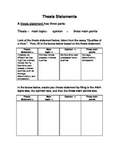 Graphic organizers for writing a thesis statement