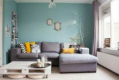 Aqua Blue and Charcoal Gray Living Room Design | For the Home ...