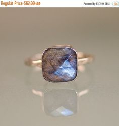 SALE  Silver Labradorite Ring   Cushion Cut Ring  by delezhen
