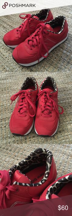 New Balance 574 High Roller Sneakers All red with white outsole and leopard trim. Worn once. Excellent condition! New Balance Shoes Sneakers