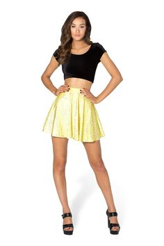 Wallpaper Lemon Skater Skirt - LIMITED by Black Milk Clothing $60AUD