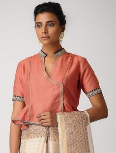 Orange Hand-embroidered Silk Cotton Blouse with Gota Heavy Dresses, Latest Sarees, Sari Blouse, Cropped Tops, Chapter 3, Indian Designer Wear, Embroidered Silk, Cotton Blouses, Saris