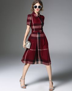 Check the details and price of this Burgundy Plaid & Check Flare Dress (Wine, ZERACO) and buy it online. VIPme.com offers high-quality Skater Dresses at affordable price.