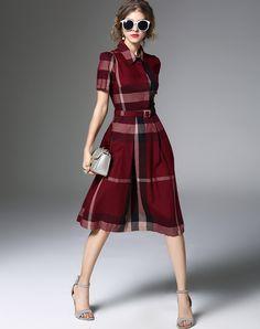 #AdoreWe #VIPme Skater Dresses - ZERACO Burgundy Plaid & Check Flare Dress - AdoreWe.com
