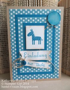 """Baptism invitation card for a little boy that loves zebras. I used polka dot desinger series paper and the stamp set """"Zoo Babies"""" by Stampin' Up! I also created a balloon and used a button to give some more detail. Einladung zur Taufe für einen kleinen Jungen. Zebra und Luftballon und blauer Knopf. Follow the link for more detailed pictures: http://bastel-t-raum.blogspot.com/2014/06/taufeinladungen.html"""