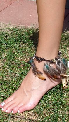 Ankle BraceletInto the Woods Feather Ankle by BeadazzledBySharon, $39.00