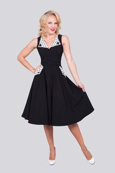 Brigit Black And White Circle | Bettie Page Clothing -2x