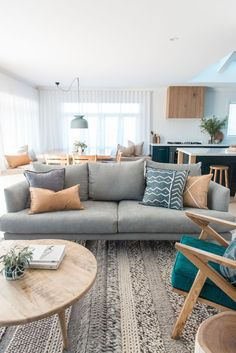 Most incredible rug with mix of weaving techniques. Love the tan and timber accents in this contemporary Australian living room Most incredible rug with mix of weaving techniques. Love the tan and timber accents in this contemporary Australian living room Coastal Living Rooms, Living Room Grey, Small Living Rooms, Interior Design Living Room, Living Room Designs, Modern Living, Simple Living, Living Room Rugs, Clean Living
