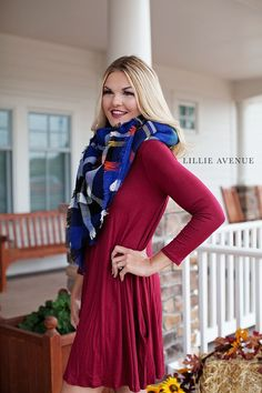 The perfect fall tunic dress with pockets! We have this amazing tunic dress in so many different colors! Find the perfect one for you and pair it with one of our beautiful blanket scarves. These dress