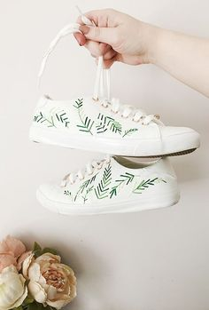 Embroidered Palm Leaf Sneakers DIY