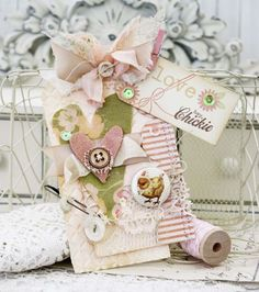 shabby chic - Melissa Phillips using A Flair for Buttons and Sizzix
