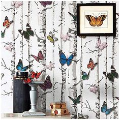 Birch Tree Wallpaper, Self Adhesive Wood Contact Paper Peel and Stick x White Birch) Android Wallpaper Blue, Iphone Wallpaper Yellow, Bling Wallpaper, Heart Wallpaper, Self Adhesive Wallpaper, Wallpaper Backgrounds, Wood Wallpaper, Purple Butterfly Wallpaper, Butterfly Background