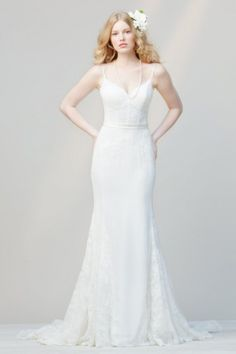 DID by watters wedding dress spring 2014 lace gown with spaghetti straps - style 52233 katy Wedding Dresses Photos, Wedding Bridesmaid Dresses, Wedding Dress Styles, Bridal Dresses, Wedding Gowns, Luxe Wedding, Wedding Album, Wedding Pics, Wedding Hair