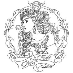 Cancer Zodiac beauty colouring page