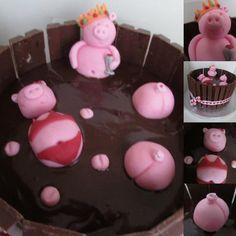 Birthday pigs in mud - by Hellocupcake @ CakesDecor.com - cake decorating website
