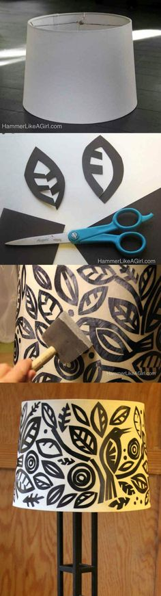 This DIY lampshade is an easy-to-do decoupage project involving cut black paper and your favorite shapes. Click through to learn more!