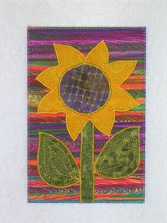Sunflower  Quilted Appliqued Fabric Postcard. $6.00, via Etsy.
