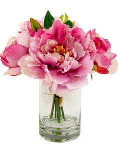 Faux Pink Peony Flower Arrangement