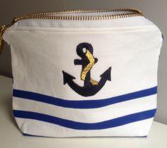 Pochette Marinière à rayures blanches et bleues : Trousses par faitmainparmarion