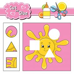 Cut and glue puzzle learning children game with colorful image of a raccoon eating an apple in a wood. wild animals educational activity for kids. Cutting Activities, Educational Activities For Kids, Color Activities, Logic Puzzle Games, Color Puzzle, Teaching Vocabulary, Alphabet Cards, Project Free, Learning Numbers