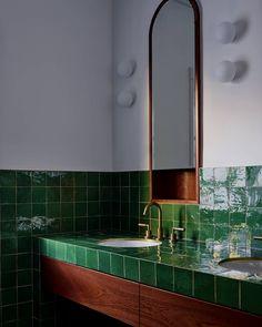 Green handmade tiles & timber in this charming Bondi Art Deco home. Green handmade tiles & timber in this charming Bondi Art Deco home. Former Glory Inc. A great way to infuse ArtArt Deco tiles Handmade tStarburst Interior Design Awards, Bathroom Interior Design, Decor Interior Design, Interior Decorating, Color Interior, Decorating Ideas, Interiores Art Deco, Bad Inspiration, Bathroom Inspiration