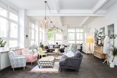 Have a look inside at the office & factory of Spoonflower in Berlin. Enjoy great photos of their office, find out more about their company & the people Spoonflower, Berlin, Sofa, Creativity, Interior, Cozy Room, Print Wallpaper, Office Ideas, Custom Fabric