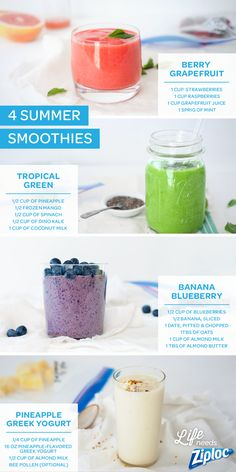 Four great, healthy, smoothie recipes. An easier way to get a super serving of fruits and veggies. Tip: prep all of the ingredients ahead of time and store in individual Ziploc® bags in the freezer. Then, grab one and blend for a quick breakfast, lunch, or snack.