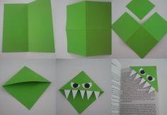 Boekenmonster stap voor stap.... Leuk om met de kinderen te maken. Paper Crafts Origami, Diy Paper, Paper Crafting, Paper Art, Easy Crafts, Kids Crafts, Diy And Crafts, Arts And Crafts, Monster Bookmark