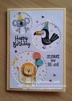 Happy Birthday Bonanza Buddies Stampin Up Handmade card Happy Birthday Cards Handmade, Kids Birthday Cards, Greeting Cards Handmade, Birthday Images, Birthday Quotes, Kids Cards, Baby Cards, Birthday Card Design, Stamping Up Cards