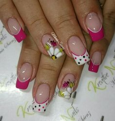 uñas frances blanco y fucsia flores blancas Fancy Nails, Diy Nails, Cute Nails, Pretty Nails, Manicure, Marble Nail Designs, Nail Art Designs, Ladybug Nails, Butterfly Nail Designs