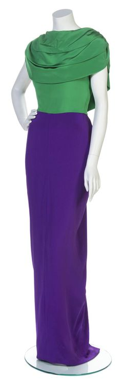 * A Galanos Green and Purple Silk Gown,