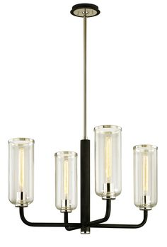 Troy Lighting Aeon 4 Light Wide Chandelier with Clear Glass Cylind Carbide Black / Polished Nickel Indoor Lighting Chandeliers Lantern Pendant Lighting, Ceiling Fan Chandelier, Modern Chandelier, Pendant Lamp, Ceiling Lights, Ceiling Fans, Chandeliers, Moroccan Hanging Lanterns, Troy Lighting