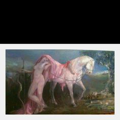 The Rose Amazon and it's White Horse.  (my dinner room painting)