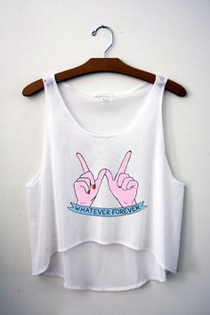 Whatever Forever Crop Top – Hipster Tops sign hand language sleeveless white cropped tee shirt February 2015