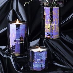 Oil candles by Tom Dixon feature an iridescent sheen and a heavenly fragrance.