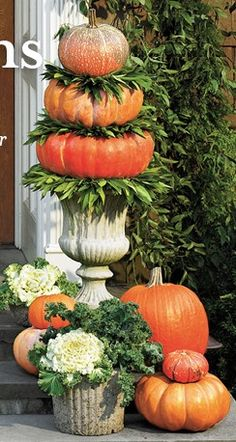 fall entry with pumpkin topiary