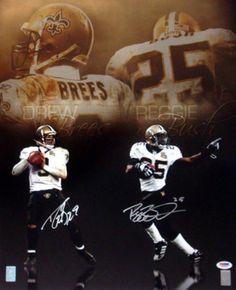 Drew Brees & Reggie Bush Autographed 16x20 Photo New Orleans Saints PSA/DNA Stock