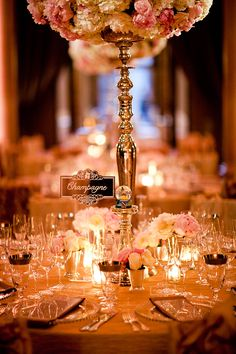 Quintessential Opulence | The Bently Reserve| San Francisco | Champagne & Pink | Romantic Wedding | Custom Mirrored Table Names | Morgan Events