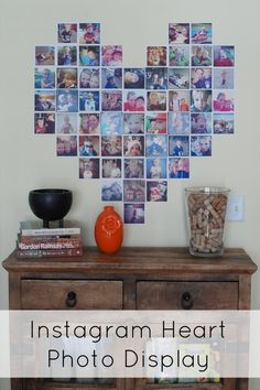 Make a heart-shaped display of Instagram photos. How cute is this?!? It even includes a pattern to use to make sure you get a perfect heart shape.