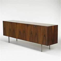 Bodil Kjaer; Rosewood and Stainless Steel Credenza, c1960.