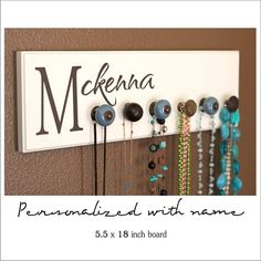 personalized jewelry rack - add name, initial, wedding date. the possibilities are endless! Also available with custom metal initials - Oliver & Lily - etsy Jewelry Rack, Jewelry Boards, Jewelry Holder, Jewelry Ideas, Diy Jewelry, Funky Jewelry, Jewelry Storage, Silver Jewelry, Handmade Jewelry