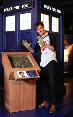 Doctor Who's Matt Smith casts his hand prints in cement as he makes his first visit to The Doctor Who Experience in Cardiff Bay to unveil a new exhibit of monsters and props from series 7. I wanna go heeeere.