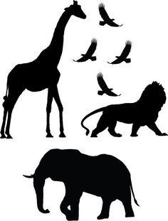 """Safari Animals – Giraffe Lion Elephant Birds"" Sticker by BoopDecals Silhouette Clip Art, Animal Silhouette, African Animals, African Art, Stencil Animal, Lion King Theme, Animal Cutouts, Lion King Birthday, Animal Templates"