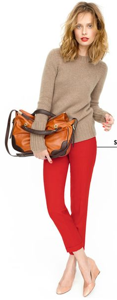 red pants + tan sweater  jcrew.com